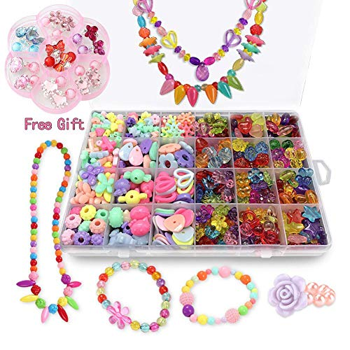 Bead Kits for Jewelry Making - Craft Beads for Kids Girls Jewelry Making Kits Colorful Acrylic Girls Bead Set Jewelry Crafting Set (with Clip-on Earrings)