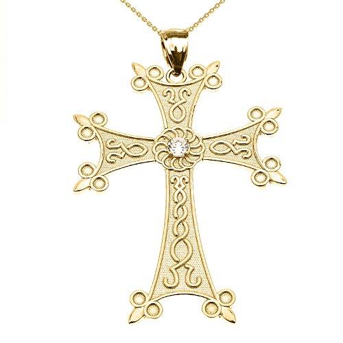 Collier Femme Pendentif 14 Ct Or Jaune Élégant Arménien Croix avec Éternité Diamant (Large) (Livré avec une 45cm Chaîne)