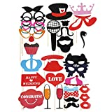 Party Prop - SODIAL(R)31pcs Wedding Birthday Party DIY Photo Booth Props Mask Glasses Mustache DIY Mustache