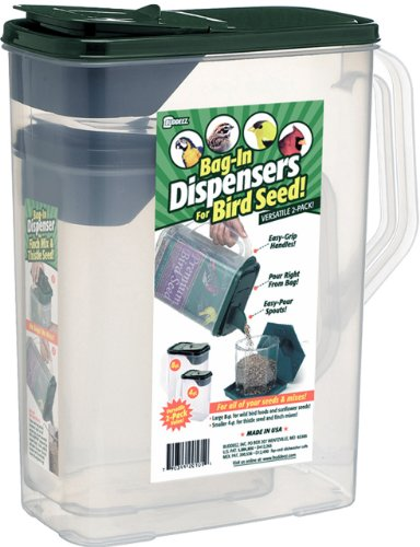 Buddeez 8 and 4-Quart Double-Pack Bird Seed Dispensing Set, My Pet Supplies