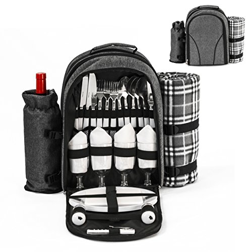 Picnic Backpack for 4 with insulated cooler compartment and detachable wine bottle holder - oversized water resistant blanket 51in x 46in picnic set for 4 including stainless steel flatware