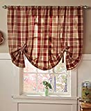 Country Curtains Country Check Tie-Up Window Curtain (Burgundy)
