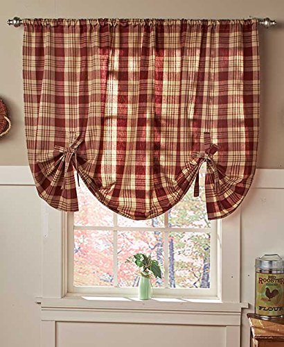 Country Check Tie-Up Window Curtain (Burgundy)