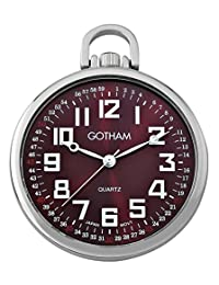 Gotham Men's Silver-Tone Ultra Thin Railroad Open Face Quartz Pocket Watch # GWC15027SM