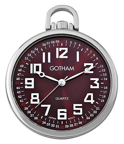 Gotham Men's Silver-Tone Ultra Thin Railroad Open Face Quartz Pocket Watch # GWC15027SM -