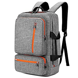 SOCKO 18.4 Inch Laptop Backpack with Side Handle and Shoulder Strap,Travel Bag Hiking Knapsack Rucksack College Student Shoulder Back Pack For 18-18.4 Inches Laptop Notebook Computer, Grey-Orange