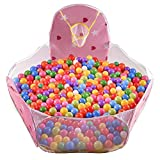 Kuuqa Kids Ball Pit Pool Princess Playpen Play Tent Ball Tent Toddler Ball Pit with Mini Basketball Hoop (Balls Not Included)