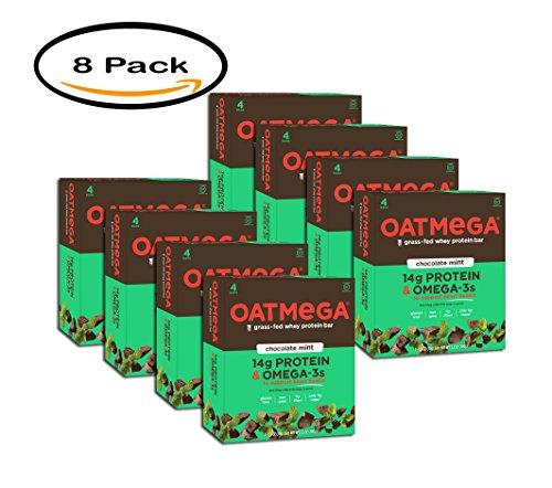 PACK OF 8 - Oatmega Chocolate Mint Crisp Protein Bars, 1.8 oz-4 count, Gluten-Free, Soy-Free, Egg-Free, Omega-3s, 5g Sugar, by Oatmega