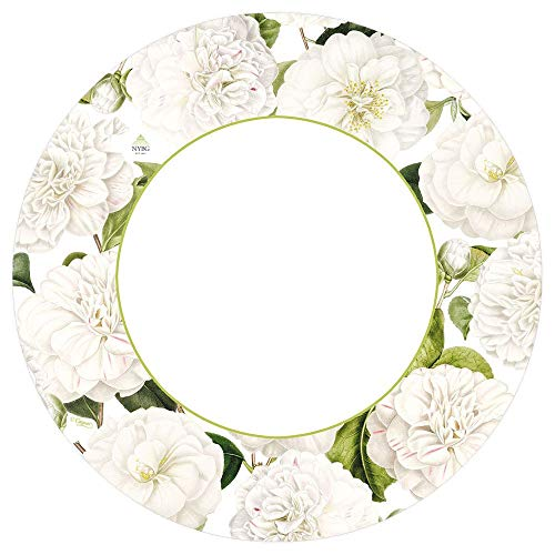 Caspari Round Paper Dinner Plates, Camellia Garden Ivory, Pack of 16