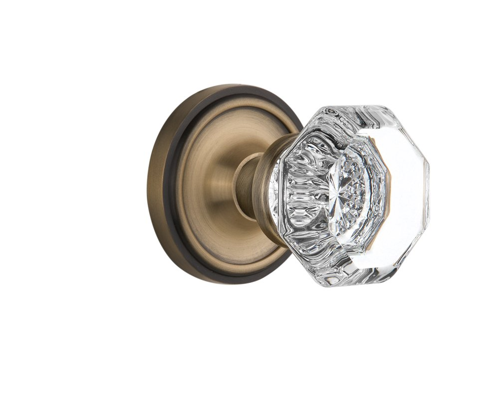Nostalgic Warehouse Classic Rosette with Waldorf Crystal Door Knob, Privacy - 2.75'', Antique Brass