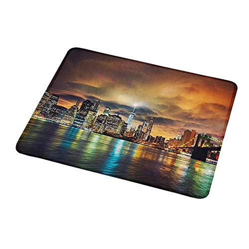 Gaming Mouse Pad Custom Design Mat City,Fantasy Dramatic Sky in New York at Nighttime Stormy Sunset Vibrant Water Reflections,Non-Slip Rubber Mousepad 9.8