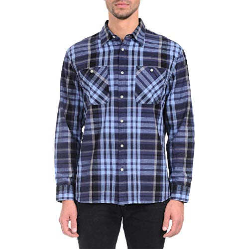 Jachs Men's Cotton Linen Checks and Plaids Brawny Plaid Botton Front Long Sleeve Shirt