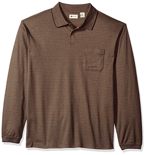Haggar Men's Long Sleeve Signature Performance Minibox Polo