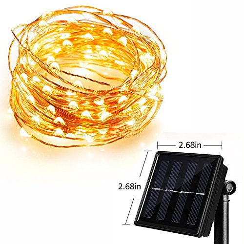 Wannabuy Solar String Lights, 56ft 150 LEDs Outdoor Waterproof LED Solar Starry Lights String,Copper Wire Lights Ambiance Lighting for Gardens, Patio, Backyard, Christmas Party (yellow)