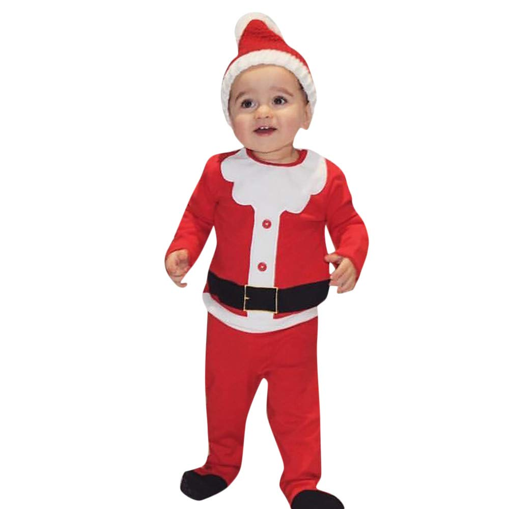 0-24 Meses Bebe Disfraz Navidad Duende Tops + Pantalones + Gorra Navidad Conjunto Ropa para Recien Nacido Niña Niño
