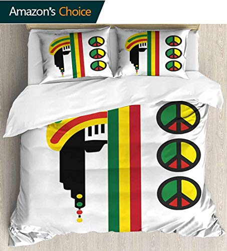 Peace Top Inspired Silk (shirlyhome Jamaican 3 Piece Quilt Coverlet Bedspread,Abstract Minimalist Rastaman with Peace Symbols Caribbean Culture Inspired Print Bedding Set for Kids,Boys and Teens 68