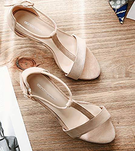 Sandales strap Fille Sexy Cheville Banquet Abricot Femme Bride T Aisun qHZwTSO8