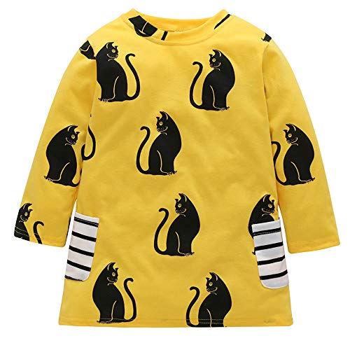Toddler Kids Baby Girls Outfits Cat Print Dress Long Sleeve Skirt One-Piece Clothes Set (Yellow, 1-2 Years)