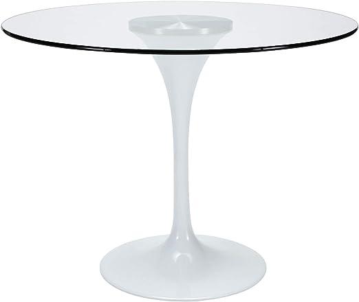 Grupo SDM - Mesas Comedor - Mesa Tul Blanco/Cristal (90x90 ...