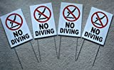 4-Pc Excelling Popular No Diving Symbol Yard Sign Plastic Message Board Decal Outdoor Warning Size 8'' x 12'' with Stake Type White