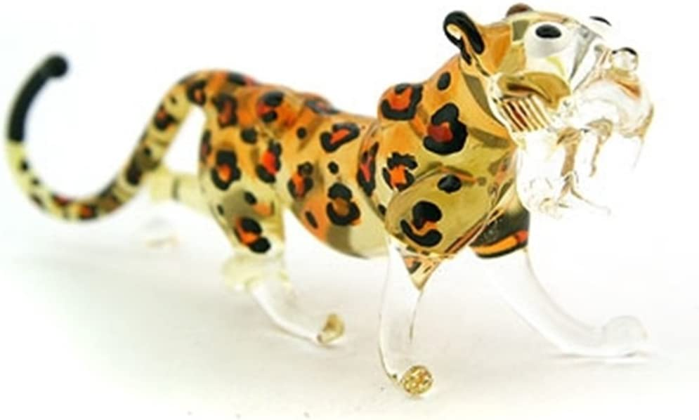Lampwork Collectible Miniature Hand Blown Art Glass Cheetah Tiger, Size S Figurine