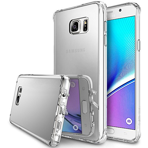 Galaxy Note 5 Case, Ringke [Fusion Mirror] Luxury mirror Back TPU Bumper w/ Screen Protector [Drop Protection/Shock Absorption Technology][Attached Dust Cap] For Samsung Galaxy Note 5 - Silver