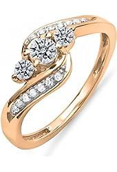 0.50 Carat (ctw) 14K Gold Diamond Ladies Swirl Engagement 3 Stone Bridal Ring 1/2 CT
