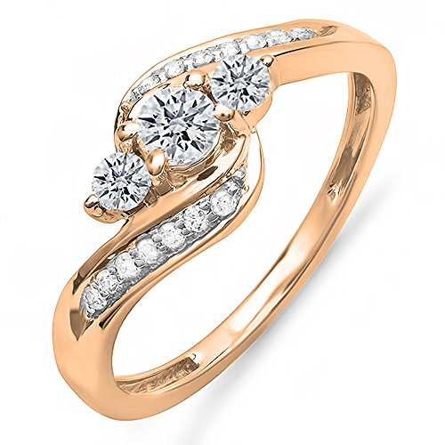 (Dazzlingrock Collection 0.50 Carat (ctw) 10k Round Diamond Ladies Swirl Engagement 3 Stone Bridal Ring 1/2 CT, Rose Gold, Size 8)