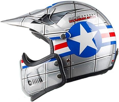 Amazon.es: Casco de moto Motocross vintage Retro Cafe Racer Vespa Open Face Kask Full Face Casco Moto Modular Moto Helmet DOT