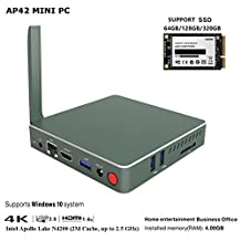 AP42 Mini PC, 4GB/57.5GB, SSD Support, 64-Bit Intel Pentium N4200 (up to 2.5 GHz) HD Graphics 505, 4K2K HDMI Dual-band WiFi/1000Mbps LAN/BT4.0/USB 3.0 [Support Windows 10 & Linux]