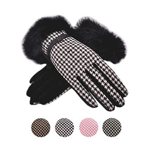 Tortor 1Bacha Women Winter Wool Plaid Gloves Warm Knit Thick Fleece Lining Rabbit Fur Cuff (Black)
