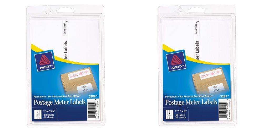 Avery Postage Meter Labels, Personal Post Office e700, 1.187 x 6 Inches, White, 60 per Pack (5289), 2 Packs