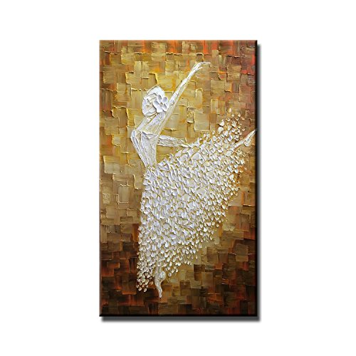 FLY SPRAY 1 Panel Contemporary Art Ballet Girl Dancers Oil painting On Canvas Stretched Framed Hand Painted Texture Knife Abstract Painting Wall Art