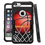 iPhone 6 /6s Case, HJ Power[TM] For Apple iPhone 6 / 6s 4.7' (All Carrier) ~ NATURAL TUFF Hybrid Rubber Hard Snap-on Case Black Black-BasketBall Hoop