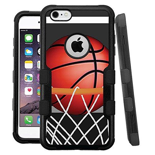 iPhone 6 /6s Case, HJ Power[TM] For Apple iPhone 6 / 6s 4.7 (All Carrier) ~ NATURAL TUFF Hybrid Rubber Hard Snap-on Case Black Black-BasketBall Hoop