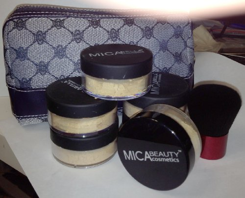 Bundle 8 Items: Mica Beauty (Micabella) 6xmineral Foundation 9 Gr Mf-5 Cappuccino Full Coverage 100% Natural + Highe Quality Kabuki Brush By Itay+ Makeup Blue Case by MicaBeauty