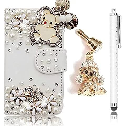 Sunroyal PU Leather Case Stand Function [Card Slots] 3D Bling Rhinestone Diamond Pearl Bear Pattern Book Style Wallet Case with for ZTE Grand X Max 2/ZMax Pro + Anti Dust Plug + Metal Stylus (Zte Zmax Phone Cases With Pearls)