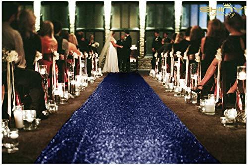 ShinyBeauty Aisle Runner-25FTX4FT-Navy,aisle runner outdoor wedding,aisle runner for wedding,Sequin Aisle Runner,Aisle Runner Fabric
