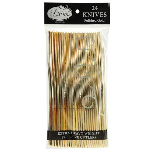 Gold Plastic Knives - Plastic Cutlery Silverware Extra Heavyweight Disposable Flatware, Full Size Plastic Knifes Like Gold, 24 Pack