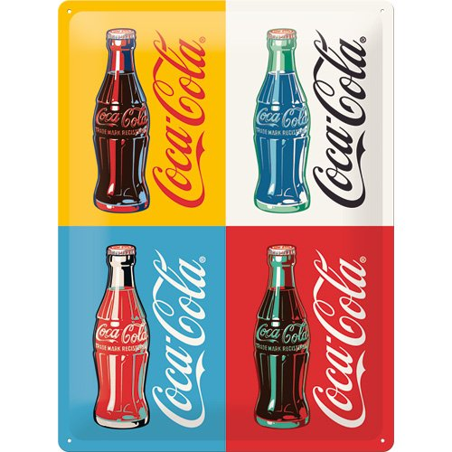 Nostalgic-Art 63325 Coca-Cola Four Bottles Pop Art, Cartel ...