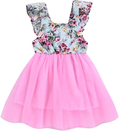 Baby Girl Princess Tulle Dress Double Layer Floral Dress Flutter Lace Sleeve Skirts Ruffle Romper Dresses Outfits for 1-4Years