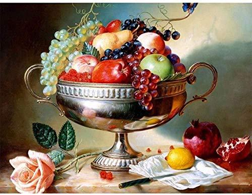 mnbhj Cuadro Al Oleo con Numeros para Pintar Pintura por Numero para Adultos Ninos Principiantes 16X20 Inch Lona Mural Decoracion Fruta Imagen(Sin Marco)