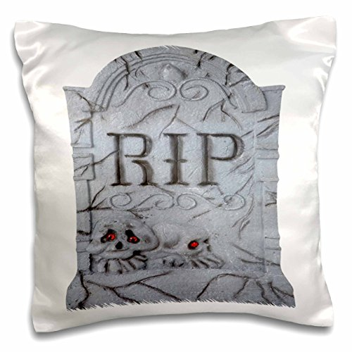 3dRose pc_131314_1 Halloween Rip Headstone with Skulls Pillow Case, 16