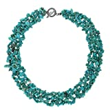 Bling Jewelry Reconstituted Turquoise Chips Bib Silver Plated Necklace 18 Inches