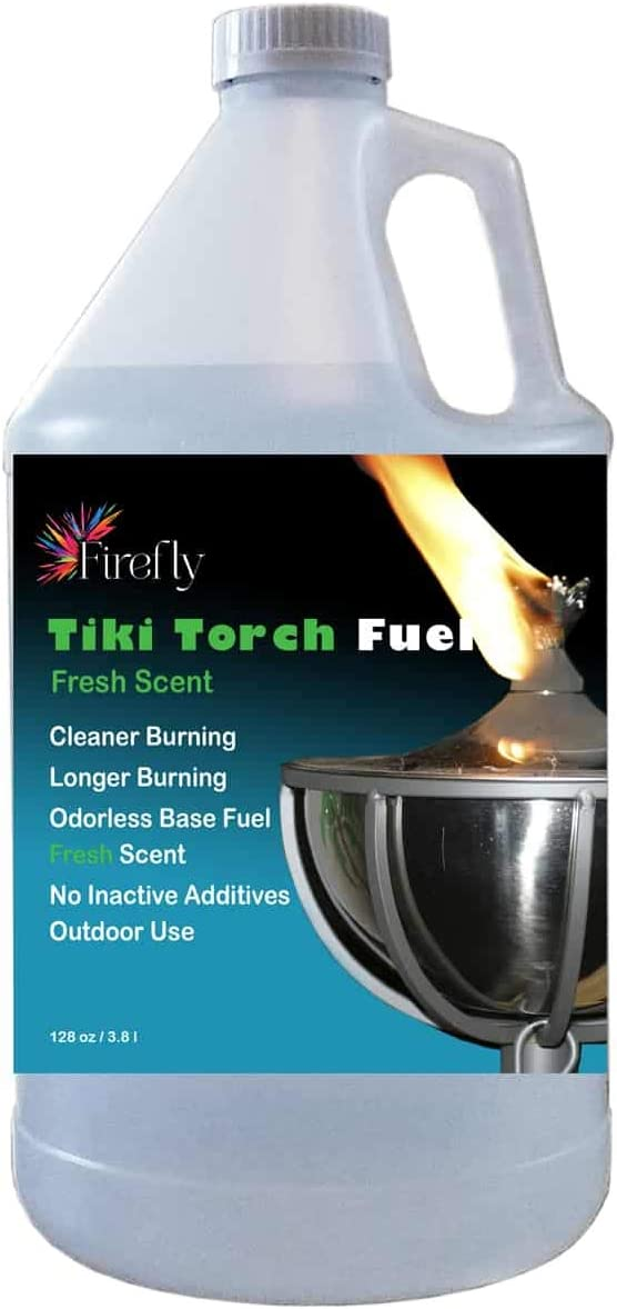Firefly Fresh Eucalyptus Scent Tiki Torch Fuel - Significantly Longer Burn - Odorless - Less Smoke - Gold Standard - 1 Gallon