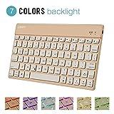 Collen Keyboard for iPad Air 2, 7 Colors Backlight Kebyoard Bluetooth for iPad Pro, iPad 2/3/4, Galaxy Tab, Mac (Gold)