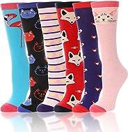 Girls Knee High Long Socks for Child 6 Pairs Fun Animal Pattern Tall Cute Crazy Boot Funny Kids Socks