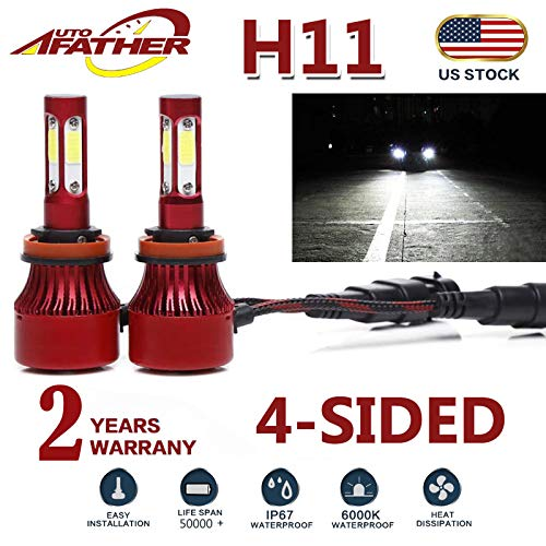 2Pcs H11 LED Headlight Bulbs Conversion Kit H8/H9 Car Headlamp 20000LM Bulbs 6000K Cool White Hi/Lo Beam/DRL / Fog Light Replace for Halogen HID, with 4-Sides Chips - Plug and Play