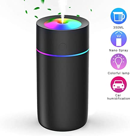 CACAGOO Cool Mist Humidifier 300ml, Quiet Humidifiers with 7 Colors Light, USB Power, Auto Off Portable Humidifier for Car, Office Black