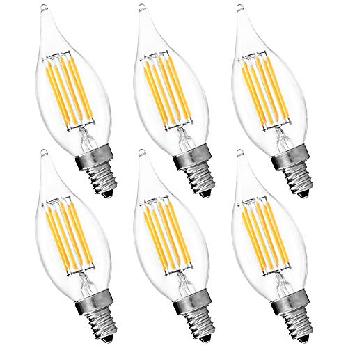 Flame Tipped Candelabra Light Bulb - 6-Pack Candelabra LED E12 Bulb, Luxrite, 6W LED Flame Bulb, 5000K Bright White, 650 Lumens, 60W Candelabra Bulb LED, E12 Candle Base, UL Listed